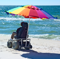 8 foot umbrella makes sure you enjoy your day at the beach with our electric beach wheelchair